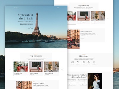 TRAVELLE - Travel Landing Page typography french paris clean minimal landing page landingpage web design traveling travel