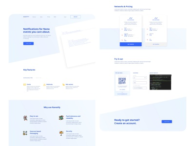Nanotify Landing Page product design product blue crypto currency design clean minimal simple web development landingpage nanotechnology nano cryptocurrency