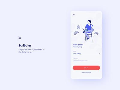 Scribbler - Writing App mobile app design mobile illustration uxdesign ux uxui mobile ui ui design app minimal clean