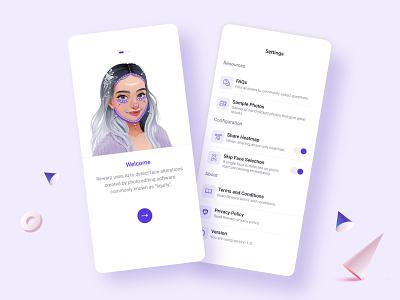 Rewarp App - Detects Face Alterations settings photoshop liquify mobile app design uxui minimal clean mobile mobile ui ux uxdesign ui