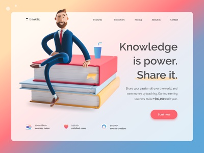 Knowledge is power. website landing page thinkific course landingpage homepage 3d illustration uxui uxdesign ux design clean ui minimal