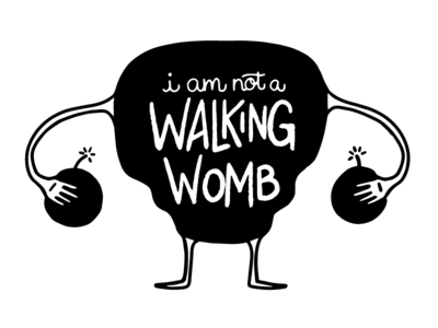 COMMISSION: Walking Womb sketch hand-lettering web cartoon lettering illustration bombs ovaries uterus womb