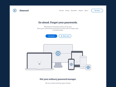 1Password — Website Redesign landing page proxima nova font adelle font redesign website web password manager logo illustration icon typography 1password