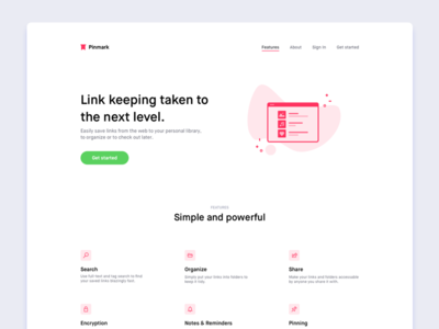 Pinmark — Landing Page features colors illustration web website typography logo landing page icons maison neue font pinmark