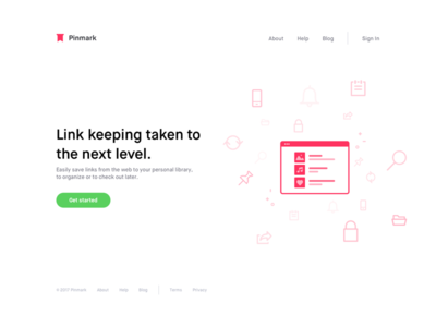 Pinmark — Landing Page Alternative pinmark maison neue font icons landing page logo typography website web illustration colors features