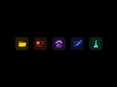 Personal Site — Dark Icons neon vibrant color lab house portfolio article blog folder vector icons dark