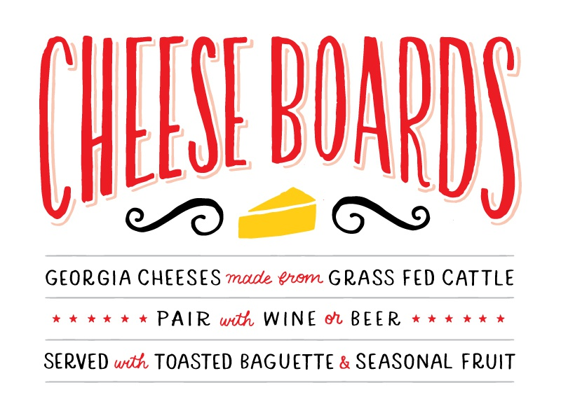 menu lettering farm to table restaurant lettering