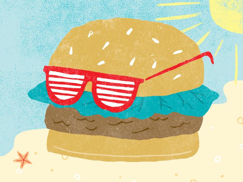 Even burgers need vacations... sunglasses editorial restaurant burger illustration