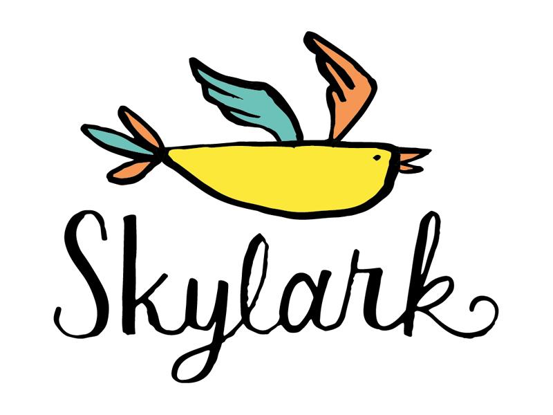 Skylark script illustration branding logo