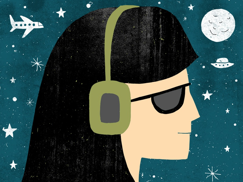 headphones radio music profile portrait night space illustration