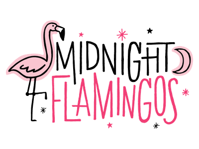 Midnight Flamingos logodesign illustration retrowave vintage lettering flamingos flamingo