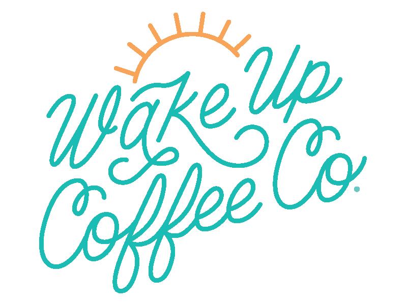 Wake Up Coffee Co. beach coffee shop barista espresso coffeeshop coffee logo script