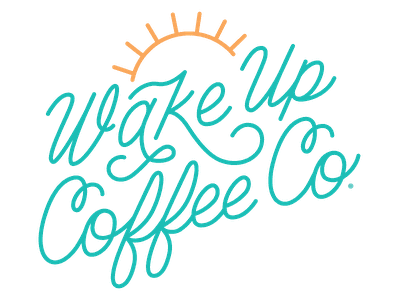 Wake Up Coffee Co. beach coffee shop barista espresso coffeeshop coffee logo script