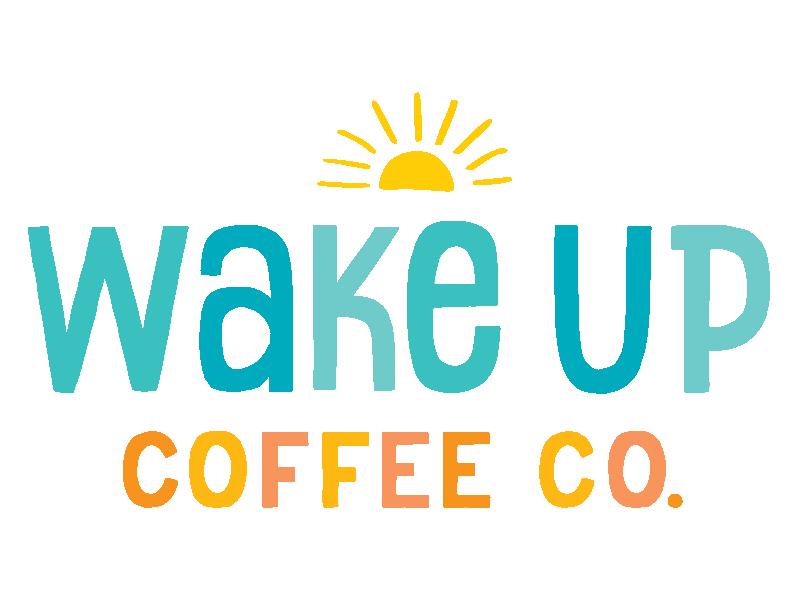 Wake Up Coffee Co. hand drawn handletter coffeeshop coffee sun beach life beach lettering logo
