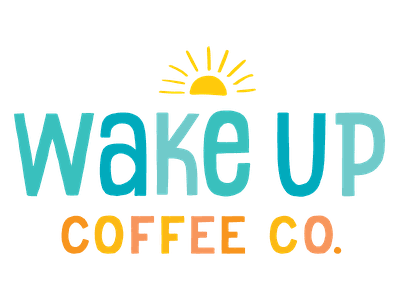 Wake Up Coffee Co. hand drawn handletter coffeeshop coffee sun beach life beach lettering logo