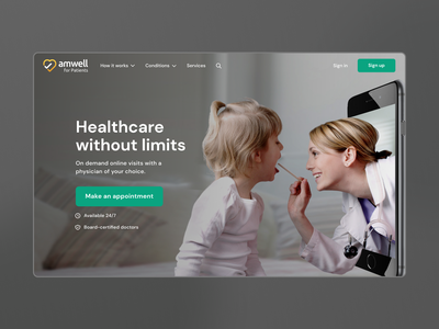 Redesign Amwell for patients appointment online doctor medical design hero banner challenge figmadesign hero image landing page redesign webdesign webdesigner figma hero section ux ui