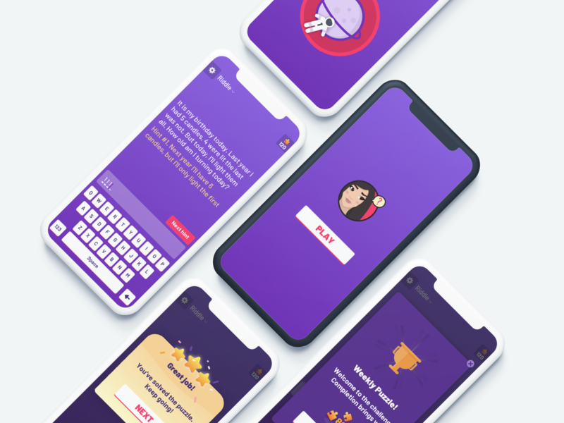 Best Brain Puzzles mobile iphone x brain sketch riddle puzzle game vector illustration ux ui android ios app