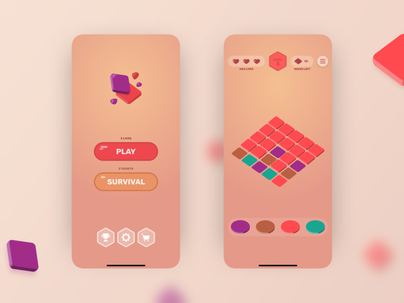 Blocky Fills buttons levels sketch ux ui play ios game