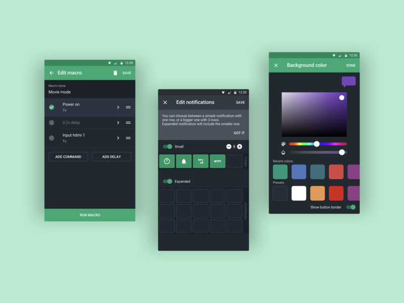 AnyMote redesign for Android devices edit notifications remote control mobile uiux design app android