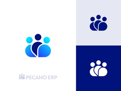 Logo Concept Pecano logo brand identity brand cloud human pictogram modern solution erp people logo mark branding logo designer logo design