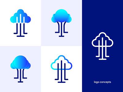 logo concepts - Pecano solution modern logo mark logodesign logo cloud tree erp branding brand identity design brand identity brand