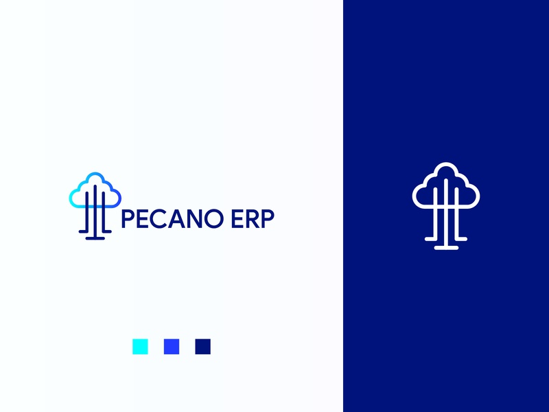 Pecano - Final Logo tree solution modern logo mark logo design logo erp cloud branding and identity design brand identity branding brand