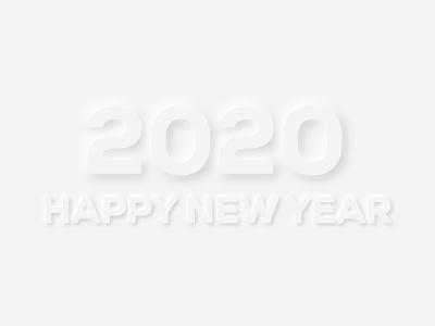 Happy 2020 designs happy new year 2020 trend 2020 neumorphism skeumorphic design