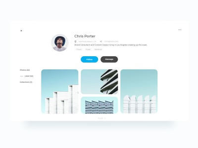 User Profile flat ux desktop dribbble debut user experience profile design clean profile design vector web ui graphic design layout minimal user interface