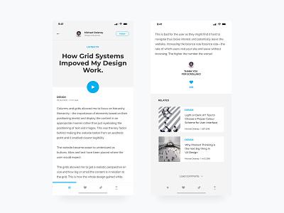 Mobile Blog blog ux  ui mobile user experience product design digital ux ui design clean web user interface minimal layout interface graphic design