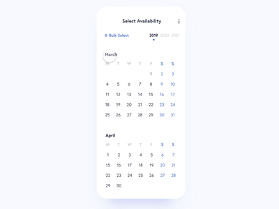 Calendar Availability UI interaction app animation sketch app sketch xd prototype protopie product design digital ux user experience ui design user interface minimal interface