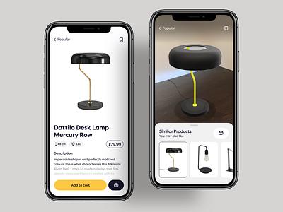 Work Space App - AR Prototype user interface clean interface user experience prototype mobile ui product lamp setup camera app design apple uidesign ux ui augmentedreality