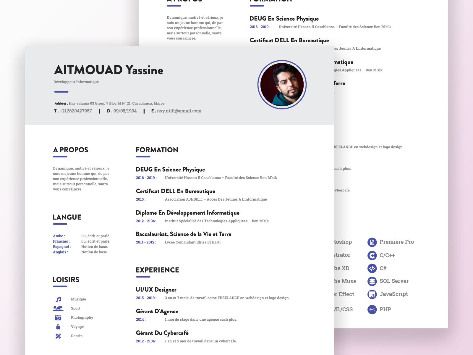 Cv Resume Template By Panda Code On Dribbble