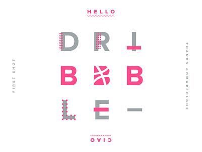 Hello Dribbble minimal hello ciao invitation first shot dribbble