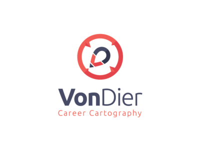 Von Dier Career Cartography career cartography pin pencil pen compass icon logo design