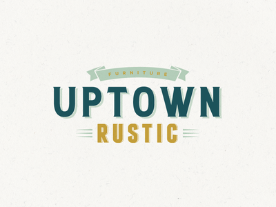 Uptown Rustic Furniture retro ribbon wood furniture grunge old style rustic uptown vintage logo design