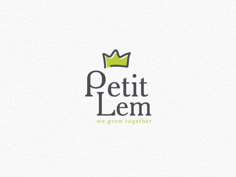 Logo design for Petit Lem Boutique little fashion baby crown shop clothing kids logo design