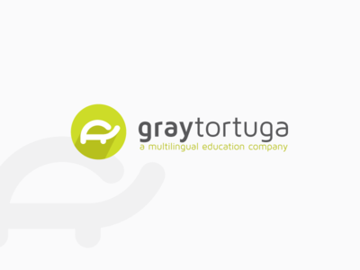 Logo design for GrayTortuga Education Center creative modern minimalistic tortuga gray langage learning education school turtle circle lime