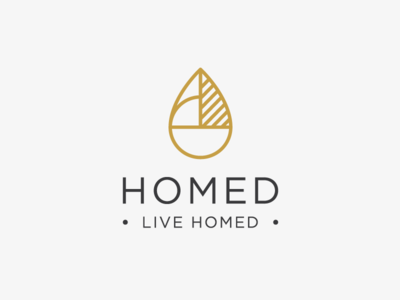 Logo design for Homed - Home Goods Company shape luxury drop abstract leaf living home decor accessories footwear clothing