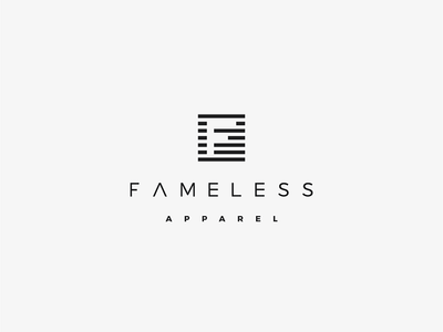 Logo design for FAMELESS APPAREL sleek simple modern minimalistic icon f apparel logo design fashion