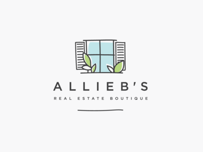 Logo design for ALLIEB'S REAL ESTATE BOUTIQUE window vintage boutique real estate logo design