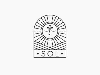 Logo design for SOL calm relaxing minimalistic lineart modern landscape window fields plant grow food art sun harvest farm nature