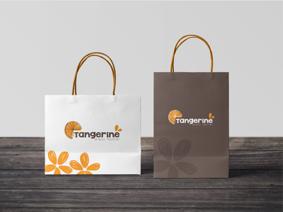 Paper Bag & Label Design for Tangerine fashion apparel tangerine label paper bag