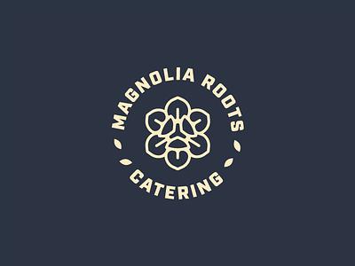 Magnolia Roots Logo thick lines flower identity branding brand identity icon mark logo design logo catering magnolia