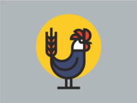 Wheat Rooster Illustration