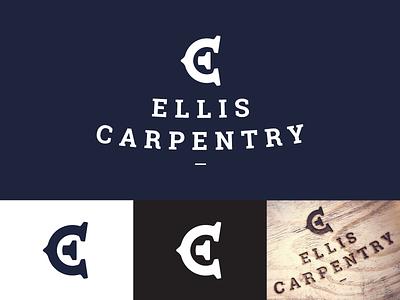 Ellis Carpentry Logo Design woodworking mark branding identity logo design logo carpenter carpentry monogram c e