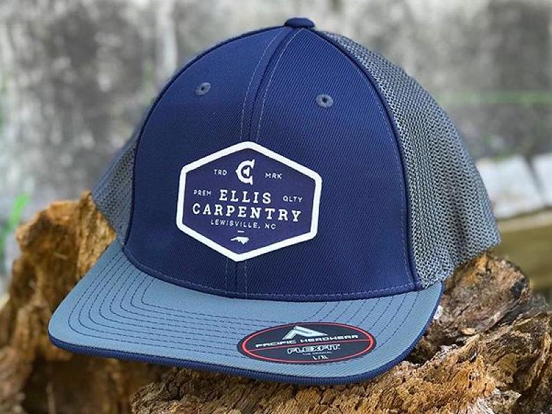 570b834e Ellis Carpentry Trucker Hats woodworking carpentry carpenter branding  identity logo design logo monogram c e trucker hat