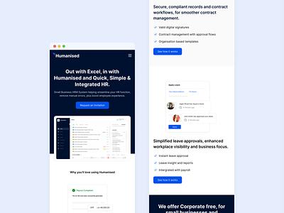 Humanised - Mobile Responsive minimalist human resource uiux responsive web design responsiveweb web blue clean mobile version payroll srilanka product design responsive hr