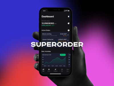 Superorder.io Mobile App strategy bot chart trade cryptocurrency crypto bitcoin mobile app finance fintech trading
