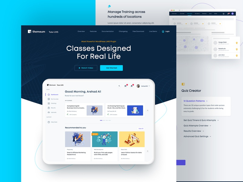Redesigned Tutor LMS Landing Page | Themeum web clean course learning platform education plugin lms purple minimal design dashboard