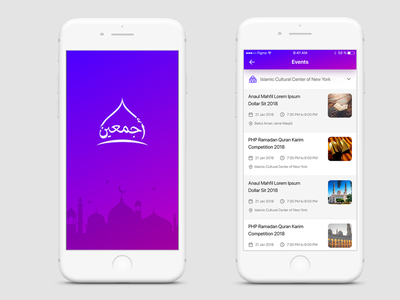 Azmain App Design WIP figma gradient adan splash events purple ux ui masjid